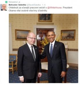Prahu opanovala Čína, Bohuslav Sobotka se záhy pochlubil jinou fotkou. Tou z návštěvyv USA.
