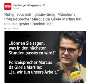 Ceněný mluvčí mnichovské policie už má i své fanouškovské stránky.
