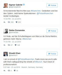 Německá uměřenost na tweetech po mnichovském útoku. Repro: Neo