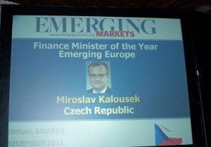 Miroslav Kalousek ministrem financí roku 2011 pro oblast rozvíjejících se evropských ekonomik. Washington, září 2011. Foto: miroslav-kalousek.cz