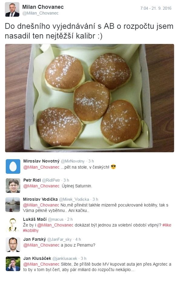 chovanec_koblihy_babis_vlada_rozpocet_twitter
