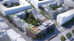 Projekt SMÍCHOV CITY, který připravuje společnost Sekyra Group, má proměnit lokalitu smíchovského nádraží v multifunkční čtvrť plnou zeleně. Hlavním tématem SMÍCHOV CITY je vrátit bydlení do centra, a to formou typické blokové zástavby. Zatím naráží na odpor. Vizualizace: Sekyra Group