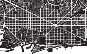 Část městského plánu Barcelony. Festival tvarů se nekoná, s výjimkou starého města v levé spodní části jde v podstatě o čtverce. Foto: Shutterstock