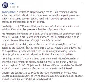 Reakce Andreje Babiše na zákon o střetu zájmů Zdroj: Facebook