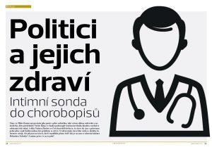 Repro úvodní dvoustrany k tématu politici a jejich zdraví z šestého čísla měsíčníku Neovlivní.cz.