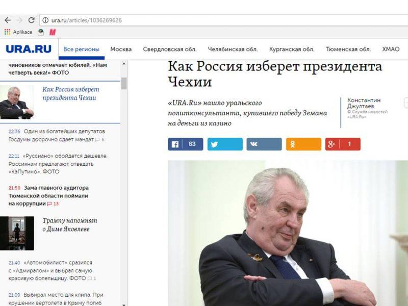 Text o volbě českého prezidenta v agentuře Ura.ru